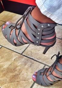 Graue Runde Zehe Stilett Cross Strap Mode High-Heel Sandaletten