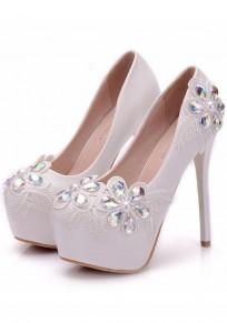 Zapatos punta redonda puntada de diamantes de imitación de moda de tacón alto blanco