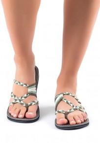Grau und Grün runde Zehe ausgeschnitten Beiläufig Knöchel Sandalen