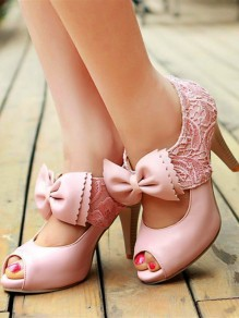 Pink Piscine Mouth Bow Lace Fashion High-Heeled Sandals