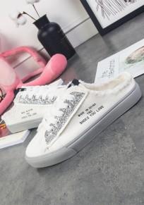 Chaussures et gris bout rond plat décontracté blanc
