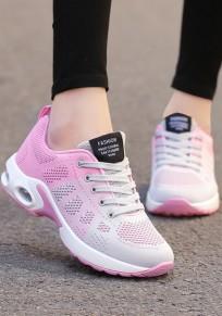 Rosa Grau Runde Zehe Schnürsenkel Luftkissen Mode Sport Flache Schuhe Sneaker Damen