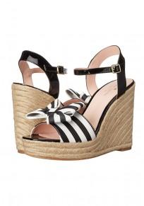 Sandales bout rond coins noeud papillon imprimé à rayures boucle mode haut talon noir