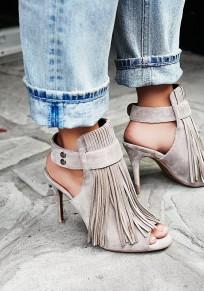 Graue Piscine Mund Stilett Quaste Mode Sandalen mit hohen Absätzen