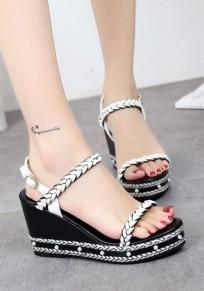 Sandalias cuña redonda remaches moda tacón alto blanco