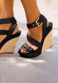 Sandales à talon compensé chunky buckle sangle boucle mode femme noir