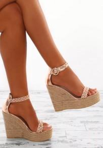 Golden Round Toe Wedges Fashion Sandals