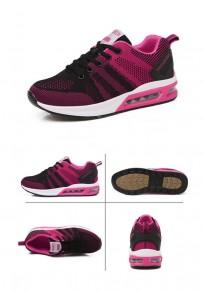 Chaussures rose framboise et noir bout rond à lacets décontracté à la cheville