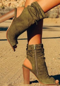 Sandali punta tonda cinturino incrociato alla moda con tacco alto verde militare
