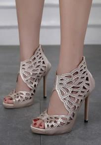 Sandalias punta redonda puntada de diamantes de imitación tacón alto albaricoque