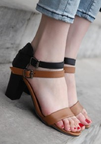 Brown Round Toe Chunky Fashion Ankle High-Heeled Sandals