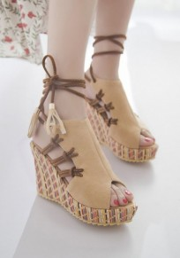 Beige Piscine Mouth Wedges Cross Strap Fashion High-Heeled Sandals