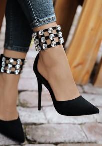 Scarpe punta A punta stilosa con strass tagliati alla moda A tacco alto neri