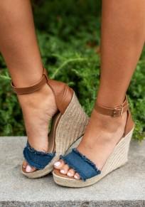 Sandales bout rond mode coins cheville bleu