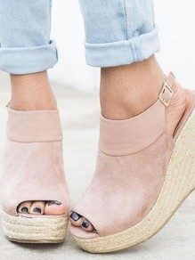 Pink Piscine Mouth Wedges Fashion High-Heeled Sandals