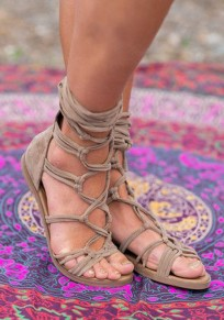 Sandals bout rond plat croix sangle lacets cheville mode boho gris femme