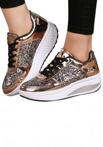 Chaussures bout rond plat à lacets paillette mode femme baskets dorée