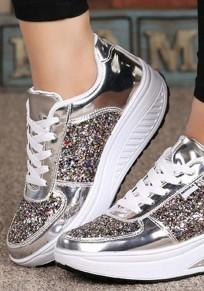Chaussures bout rond plat à lacets paillette mode femme baskets argent