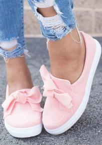 Chaussures bout rond plat avec noeud papillon mode femme rose