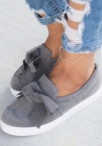 Chaussures bout rond plat avec noeud papillon mode femme baskets gris