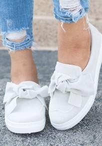 Weiß Runde Zehe Flache Schleife Beiläufige Sommer Damen Schuhe
