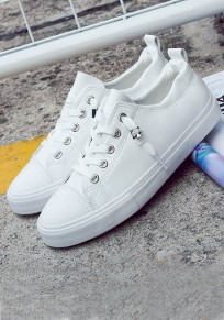 Chaussures bout rond lacets occasionnel blanc