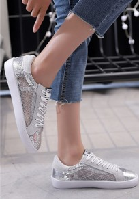 Silver Round Toe Sequin Lace Casual Ankle Shoes