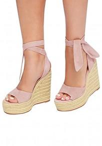 Pink Round Toe Wedges Fashion High-Heeled Sandals