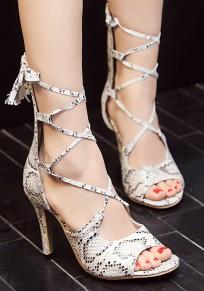 White Round Toe Stiletto Cross Strap Fashion High-Heeled Sandals