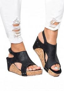 Schwarze runde Zehe keilt Niet-Klett-Art- und WeiseHohe-Sandaletten ein