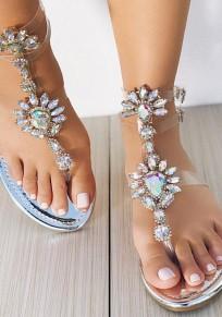 Sandales bout rond plat avec strass transparent sangle doublé boucle mode femme argent