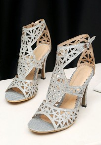 Silber Runde Zehe Stilett Cut Schnalle Mode High-Heel Sandaletten