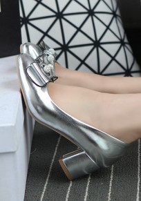 Silver Round Toe Chunky Rhinestone Bow Fashion Shoes