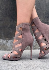 Grey Round Toe Stiletto Cut Out Fashion High-Heeled Sandals