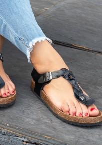 Schwarz Runde Zehe Flache Zehentrenner Fesselriemen Hippie Sommer Sandalen Damen Schuhe