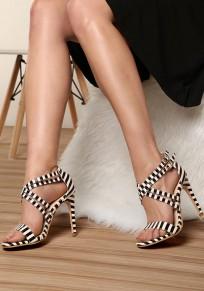 Sandalias puntera redonda con estampado de rayas correa cruzada moda tacón alto blanco
