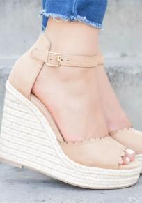 Beige Runde Zehe Keilabsatz Fesselriemen Mit Absätzen Sandalen Damen Mode Schuhe