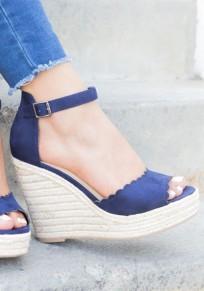 Blau Runde Zehe Keilabsatz Fesselriemen Piscine Mund Hochhackige Sandalen mit Absätzen Damen Mode Schuhe