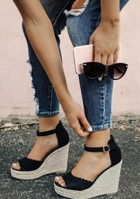 Sandales à talon compensé peep toe sangle boucle mode femme noir