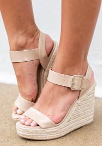 Beige Runde Zehe Fesselriemen Wedge Keilabsatz Mit Hohen Absätzen Sandalen Damen Mode Schuhe