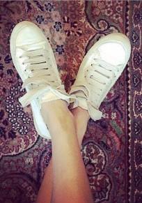 Weiße runde Zehe Spitze up Beiläufig Knöchel Schuhe