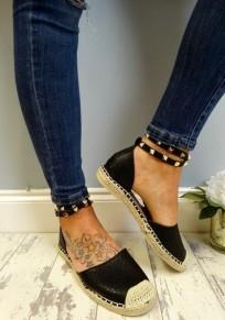 Espadrilles avec rivet bout rond plat cheville sangle décontracté femme chaussures noir