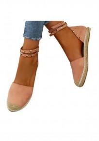Rosa runde Zehe Niet Mode Knöchel Schuhe