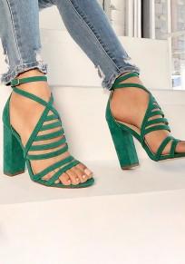 Sandales bout rond trapu sangle croisée boucle mode à talons hauts vert