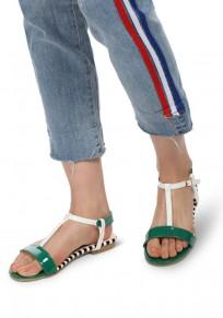 Grüne runde Zehe Flickwerk Mode Knöchel Sandalen