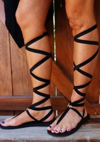 Black Round Toe Cross Strap Fashion Ankle Sandals