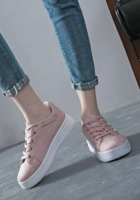 Rosa runde Zehe Pearl Spitze up Mode Knöchel Schuhe