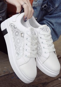 White And Black Round Toe Flat Lace Patchwork Casual Shoes