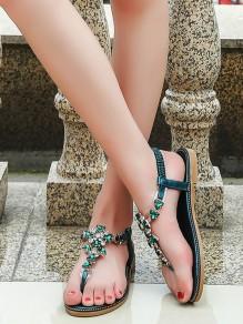 Sandales tropeziennes plat strass mode femme vert foncé