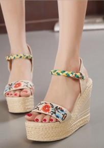 Sandales bouts ronds broderie à mode talons hauts abricot